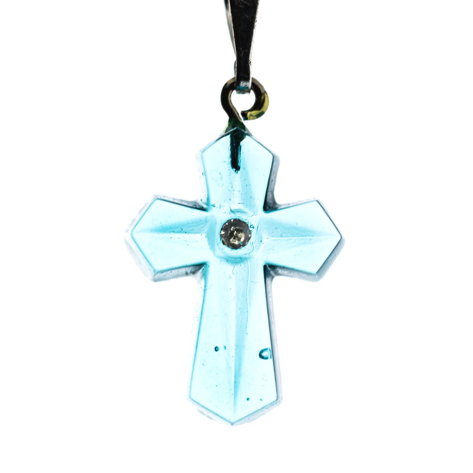 20X14MM Aqua Cross Pendant (6 pieces)