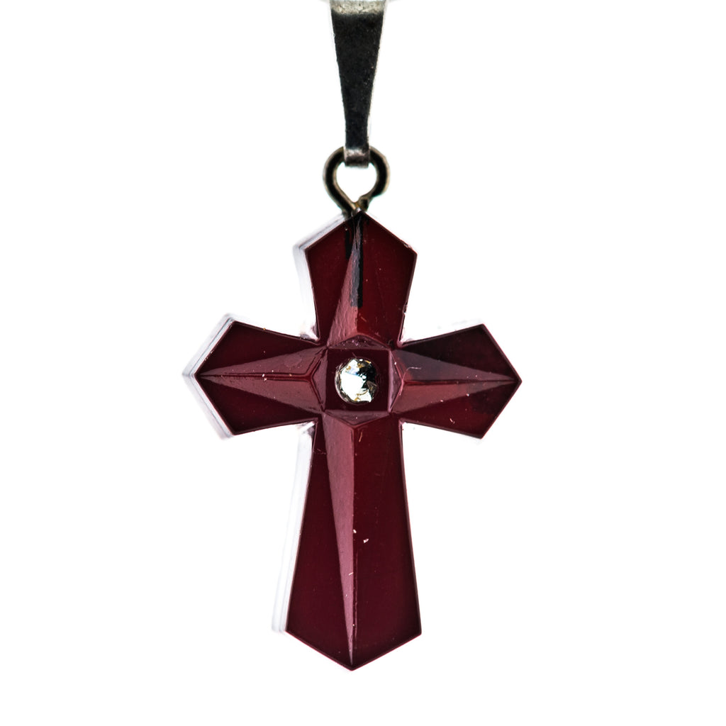 20X14MM Garnet Cross Pendant (6 pieces)