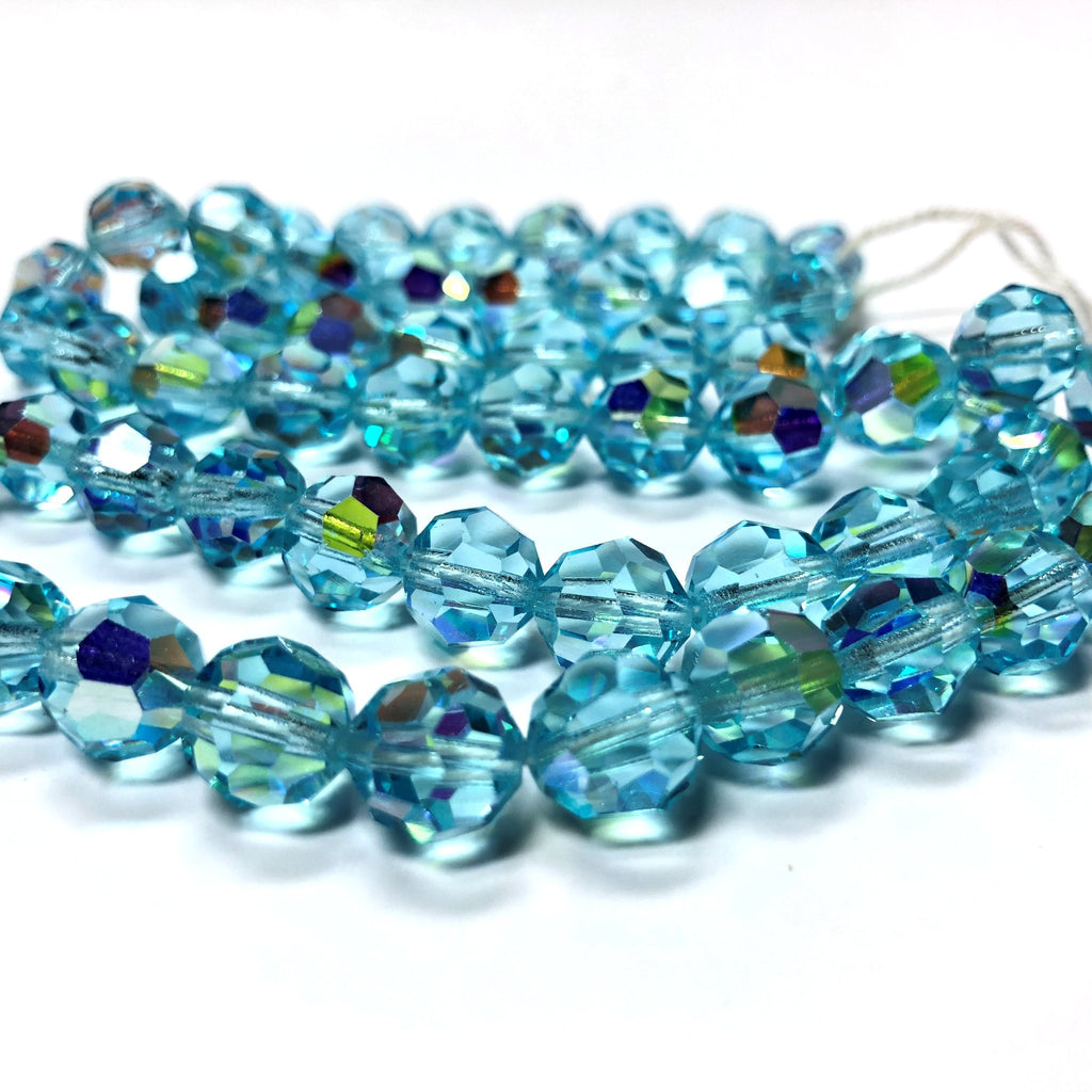 10MM Aqua Ab Cut Crystal Faceted Beads (72 pieces)