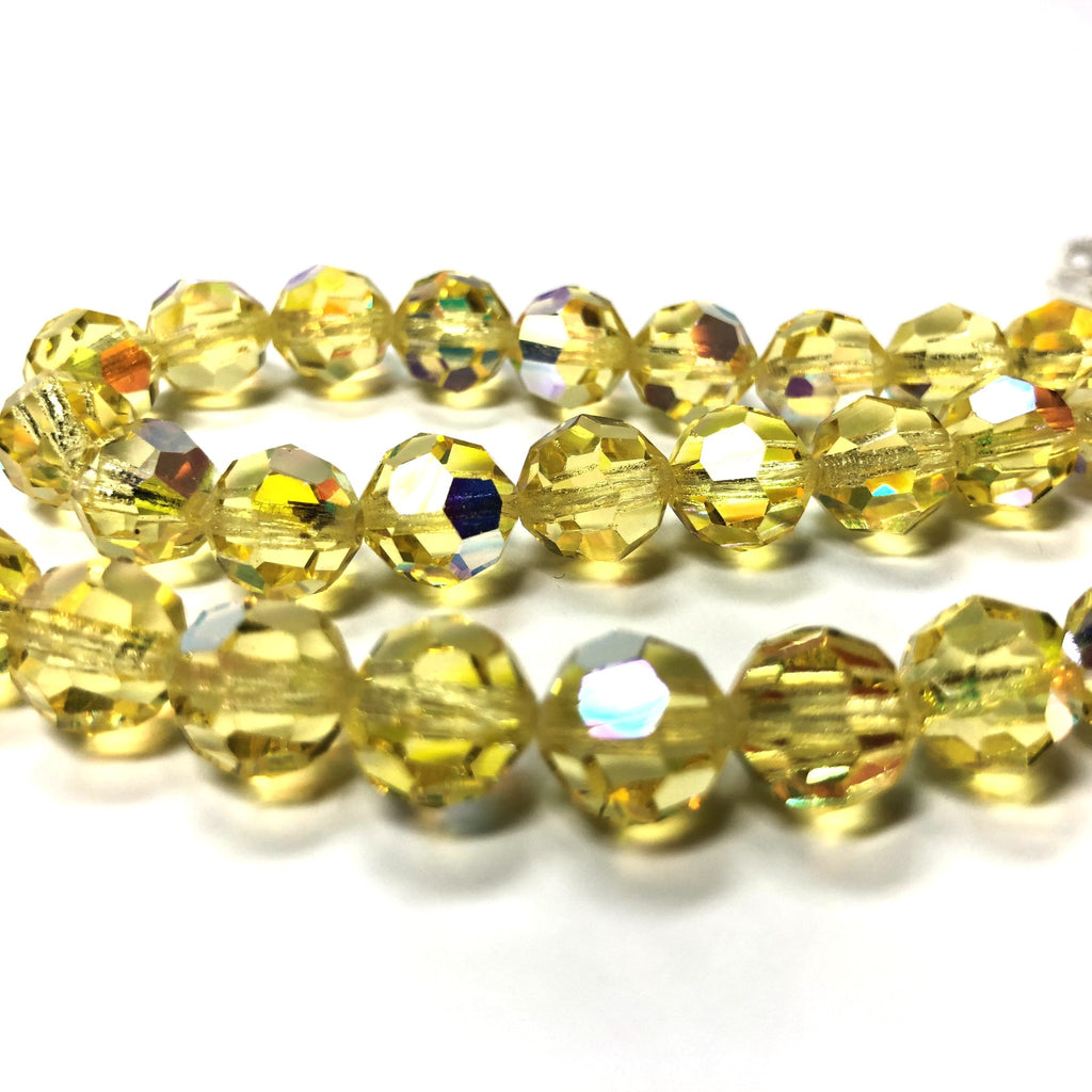 10MM Jonquil Ab Cut Crystal Faceted Beads (60 pieces)