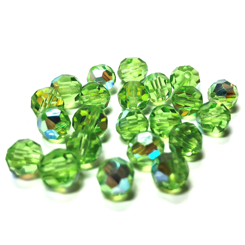 8MM Peridot Ab Cut Crystal Faceted Beads (96 pieces)