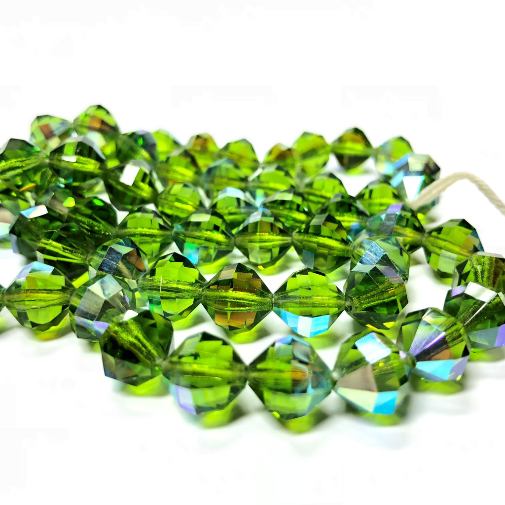 10X10MM Emerald Ab Cut Crystal Faceted Beads (60 pieces)