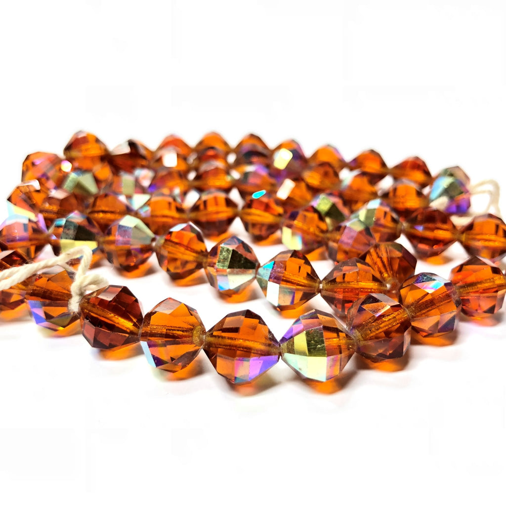 10X10MM Topaz Ab Cut Crystal Faceted Beads (60 pieces)