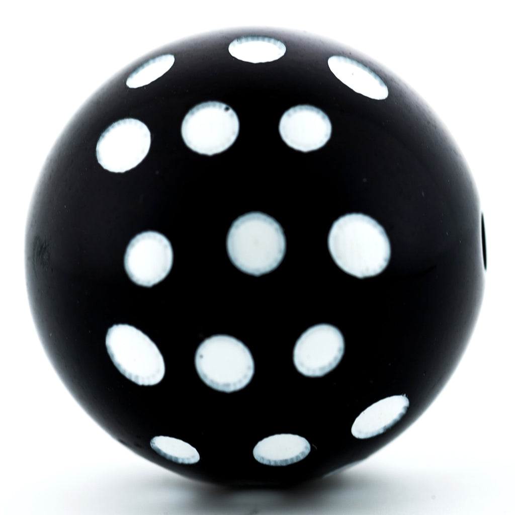 30MM Black Bead w/White Dots (3 pieces)