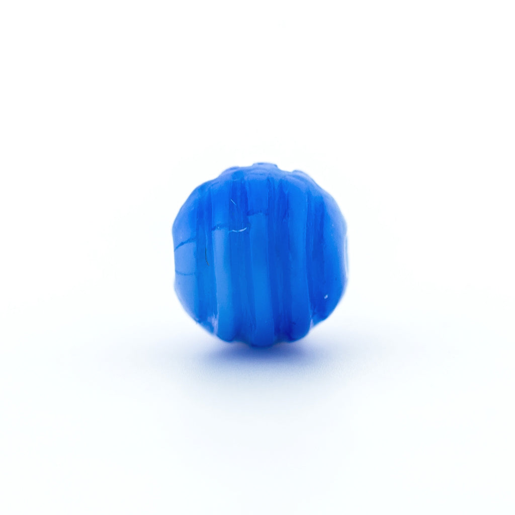 6MM Blue Ribbed Glass Bead (144 pieces)