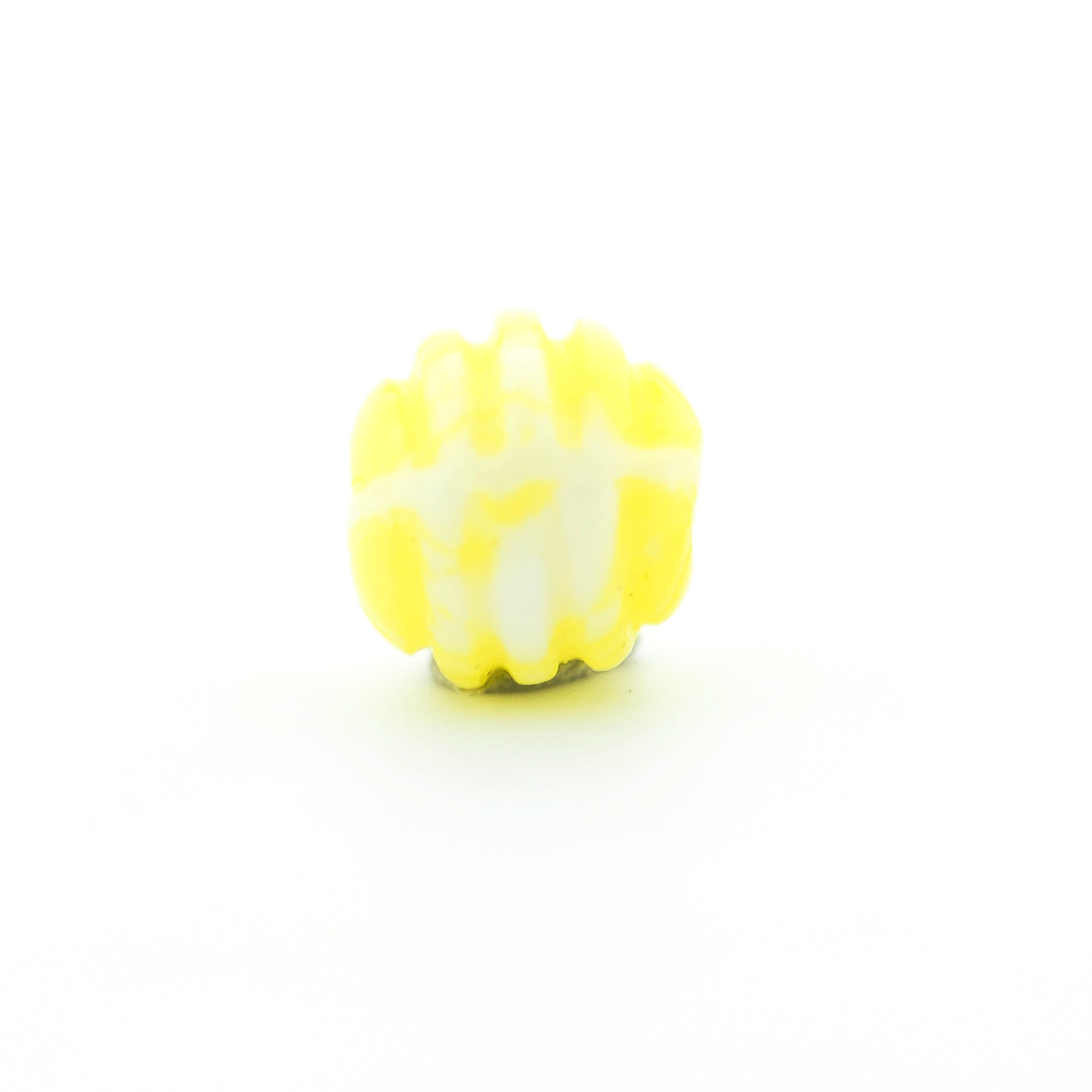 6MM Yellow Ribbed Glass Bead (144 pieces)