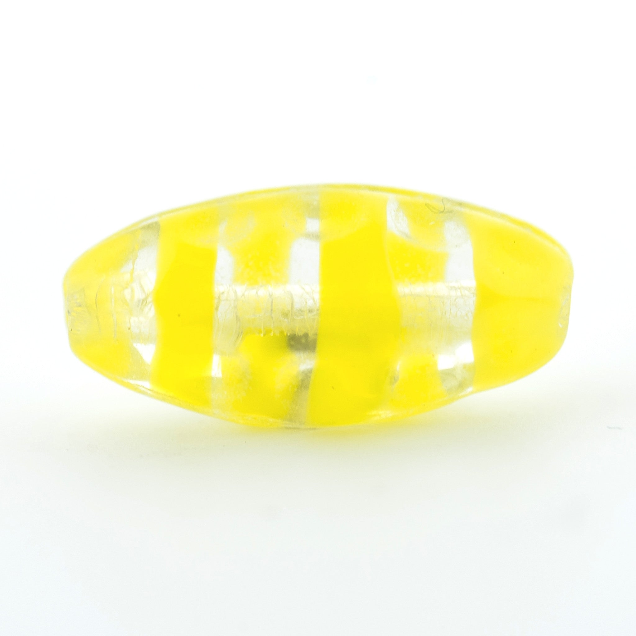 Crystal/Yellow Swirl Glass Oval Bead (36 pieces)