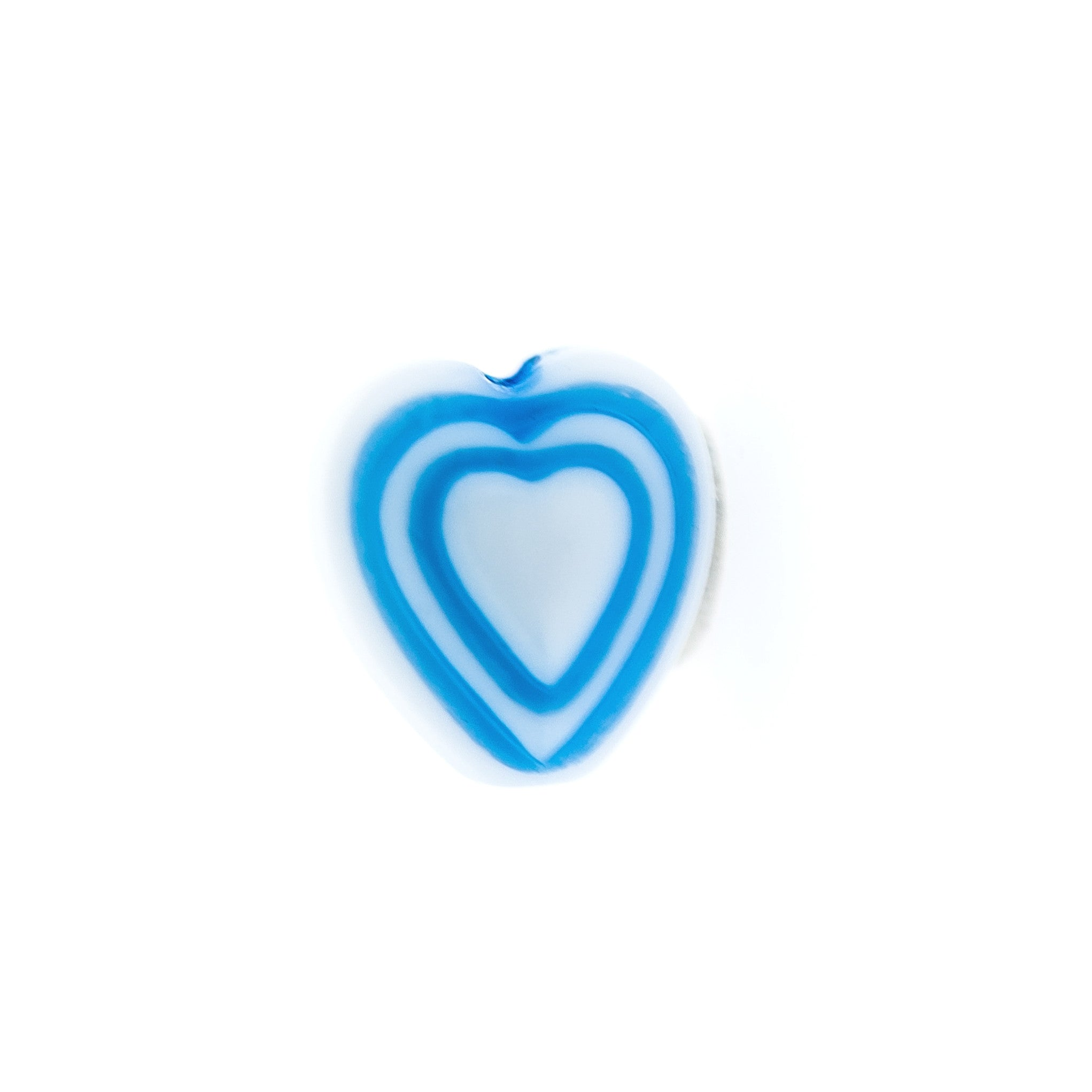 6MM Light Blue On White Heart Bead (144 pieces)