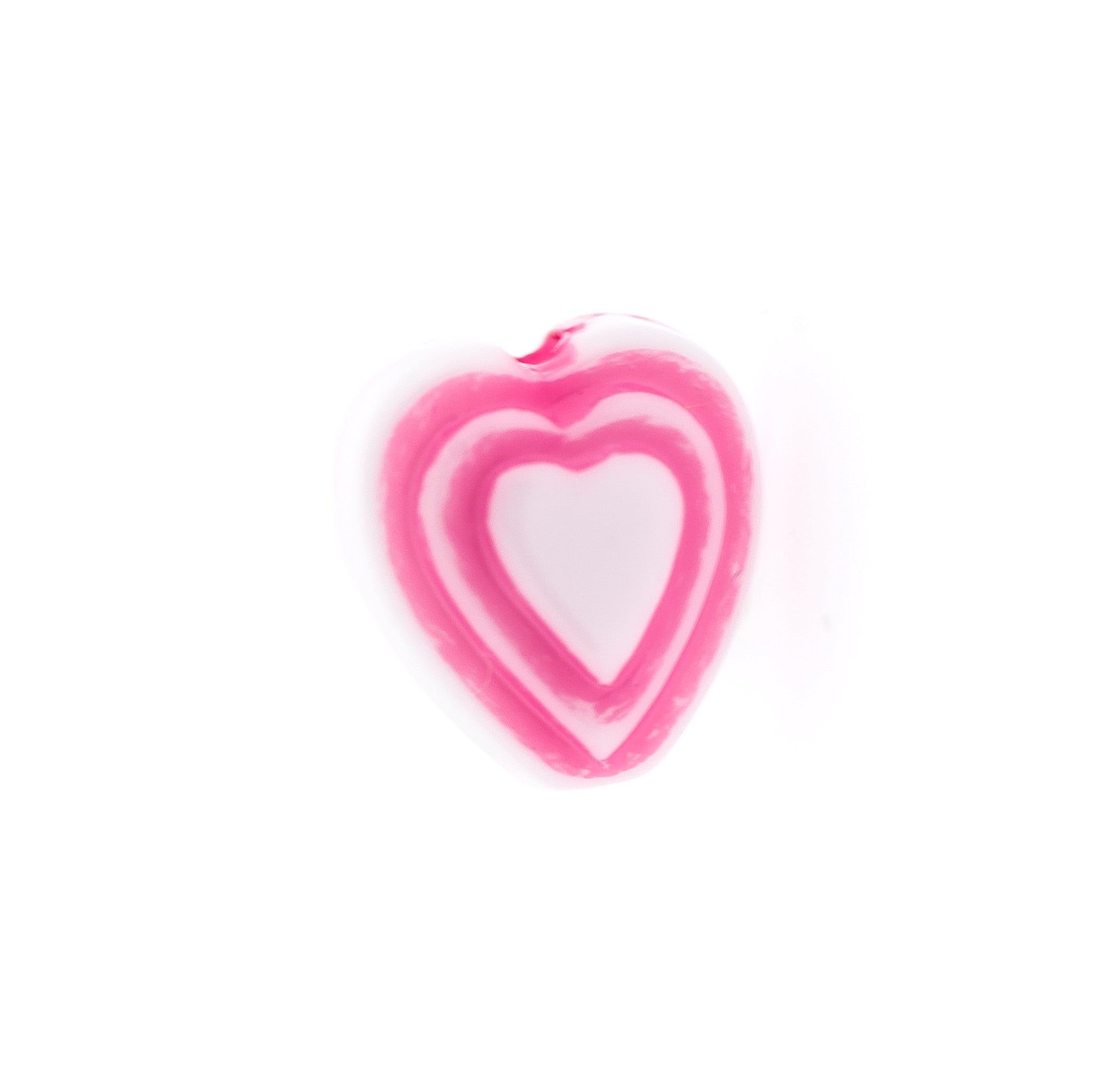 6MM Pink On White Heart Bead (144 pieces)