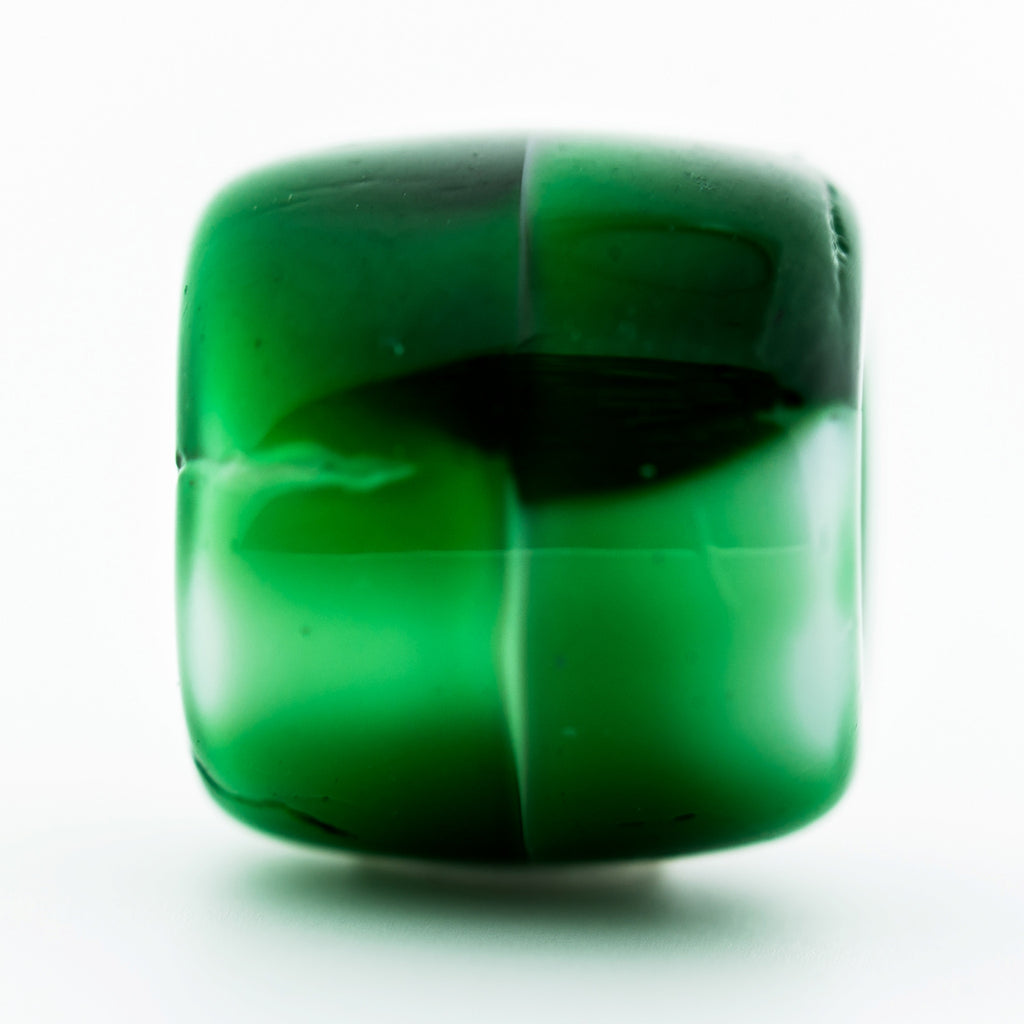 12MM Green/Wht Glass Barrel Bead (24 pieces)