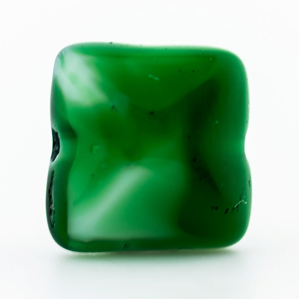 8MM Green/Wht Glass Square Bead (72 pieces)