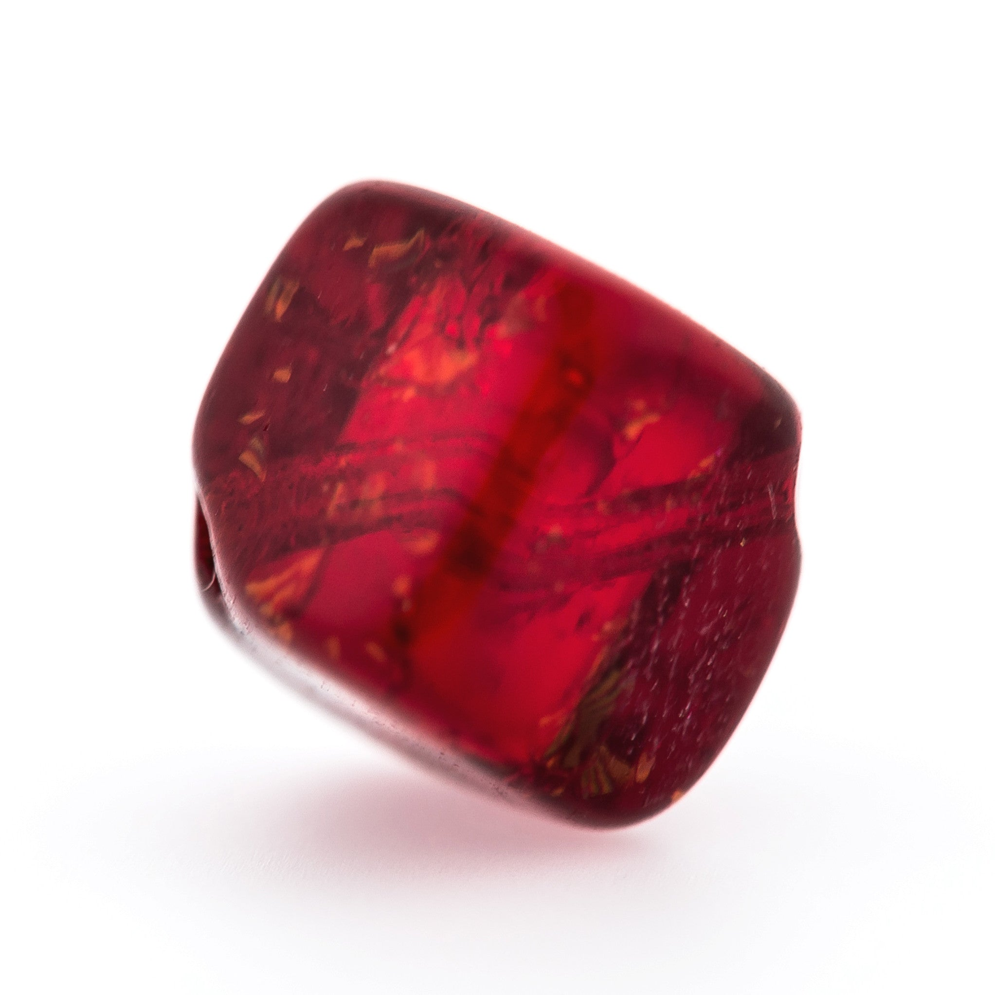 6MM Ruby Crackel Glass Cube Bead (144 pieces)