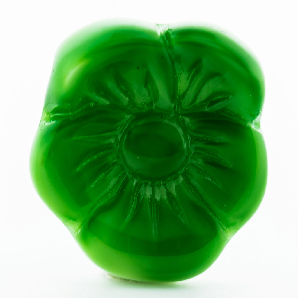 12X14MM Green Glass Flower Drop (36 pieces)