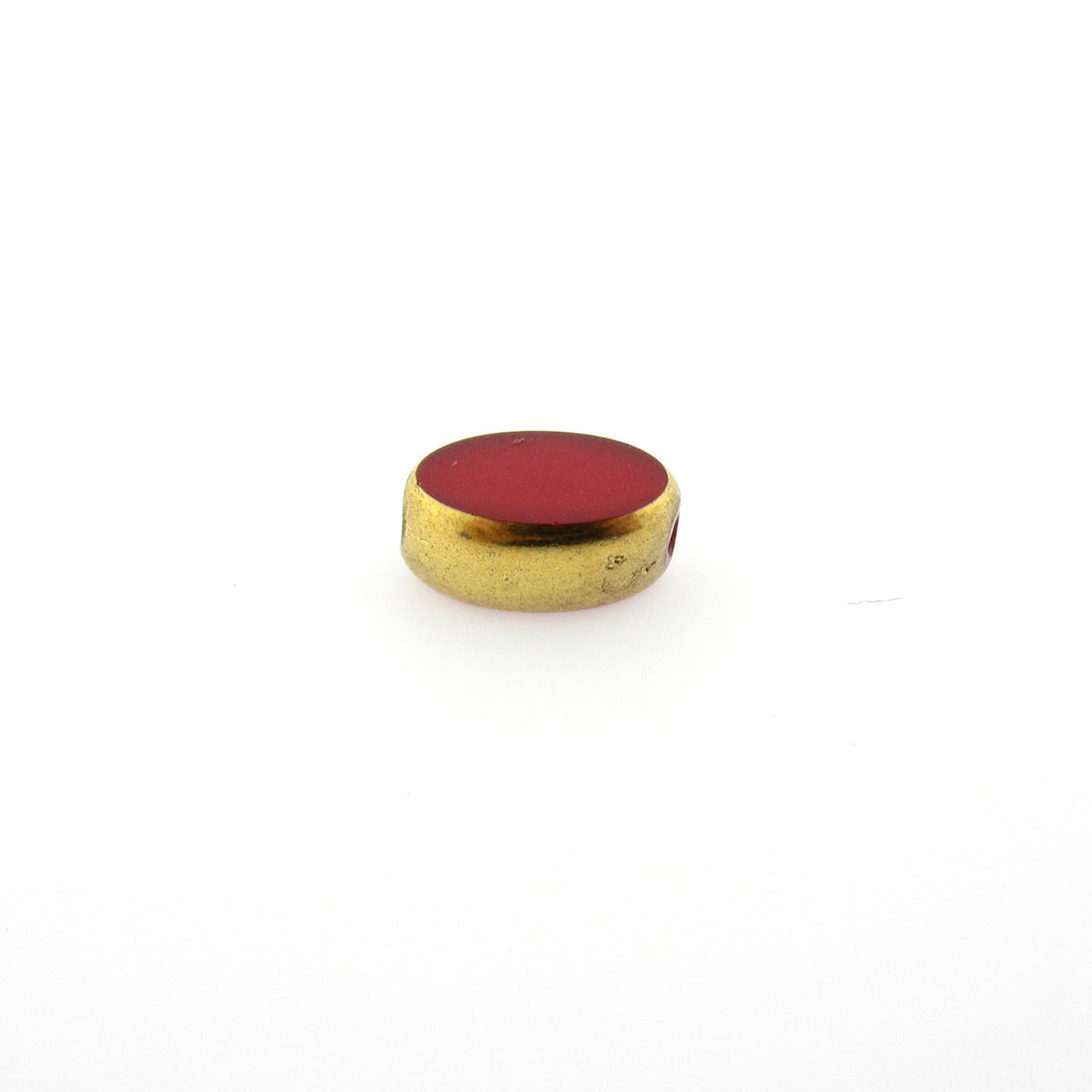 Red With Gold Edge Oval Flat Bead (24 pieces)