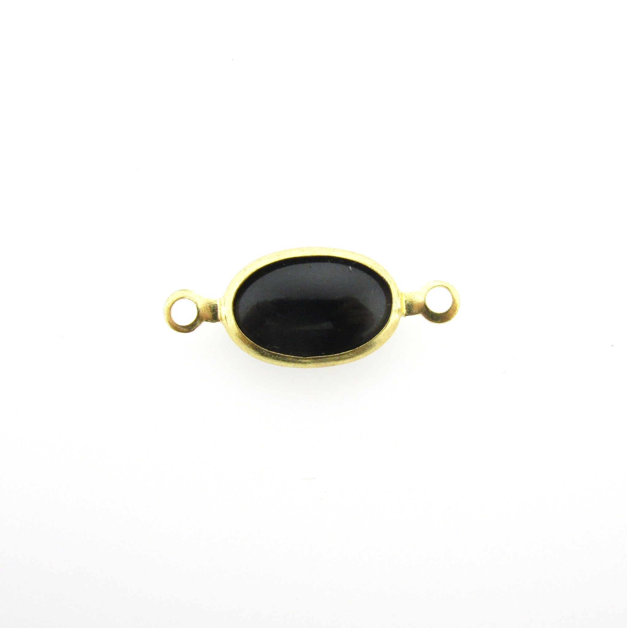 Black Glass Oval Chanel Link Bead (24 pieces)