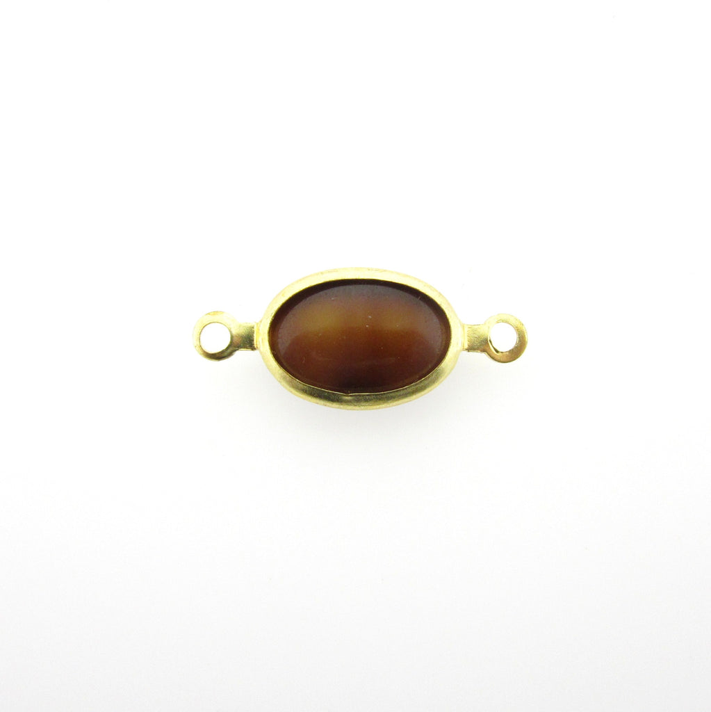 Tigereye Brown Glass Oval Chanel Link Bead (24 pieces)