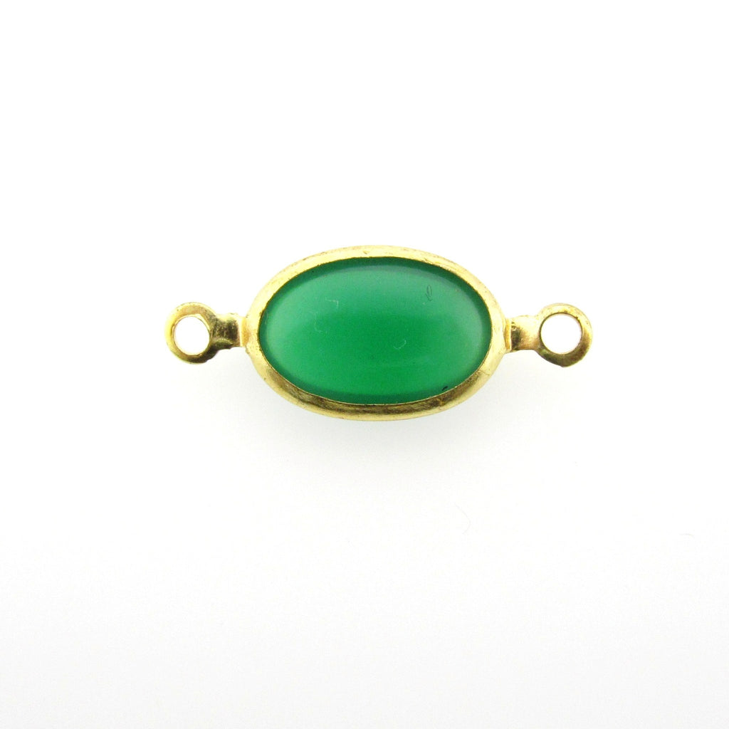 Emerald Green Glass Oval Chanel Link Bead (24 pieces)