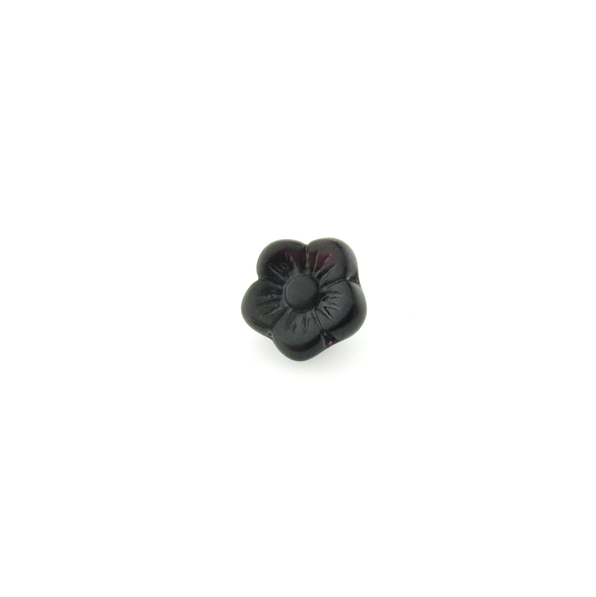 Black Givre Glass Flower Bead (72 pieces)