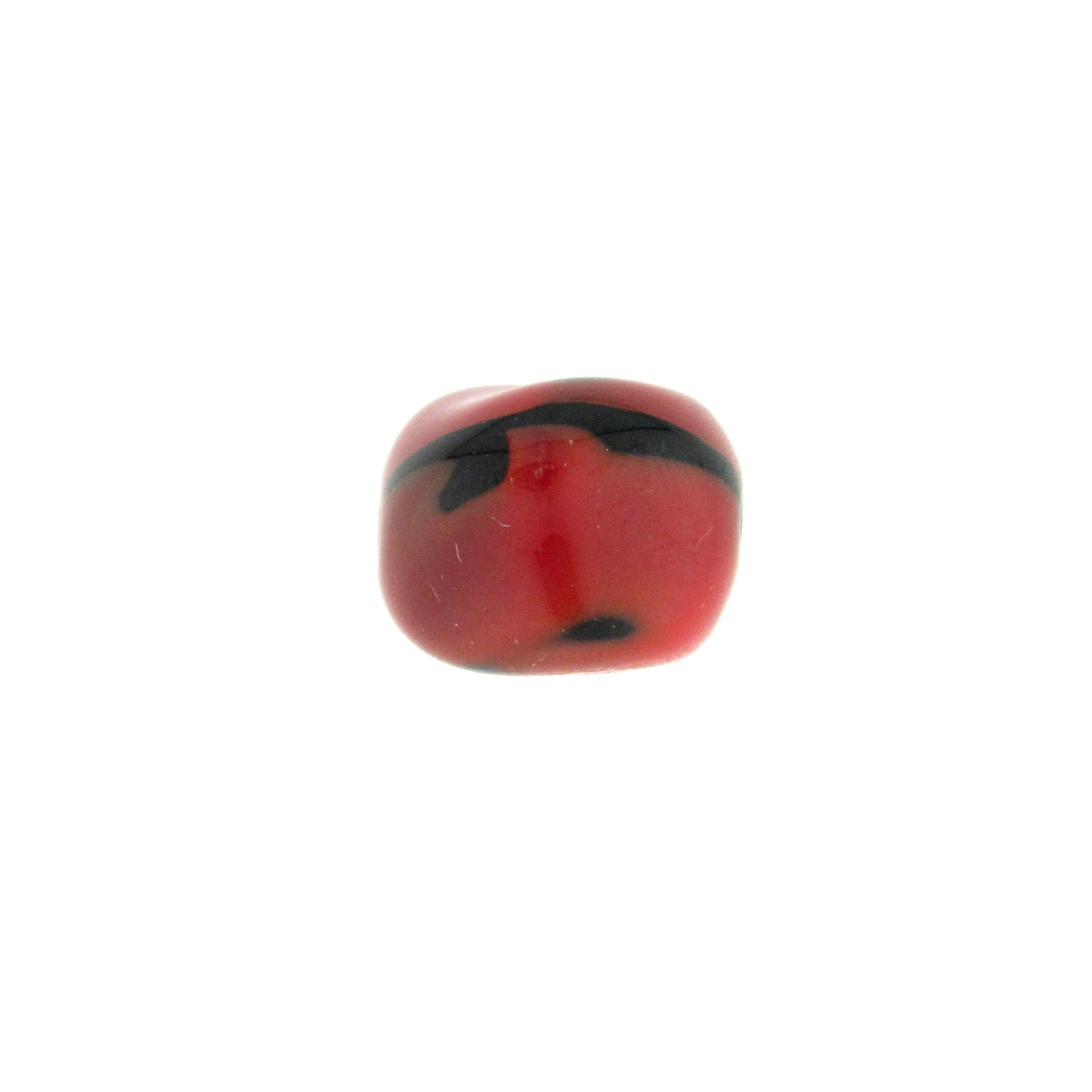 13MM Red w/Black Nuggetfancy Bead (36 pieces)