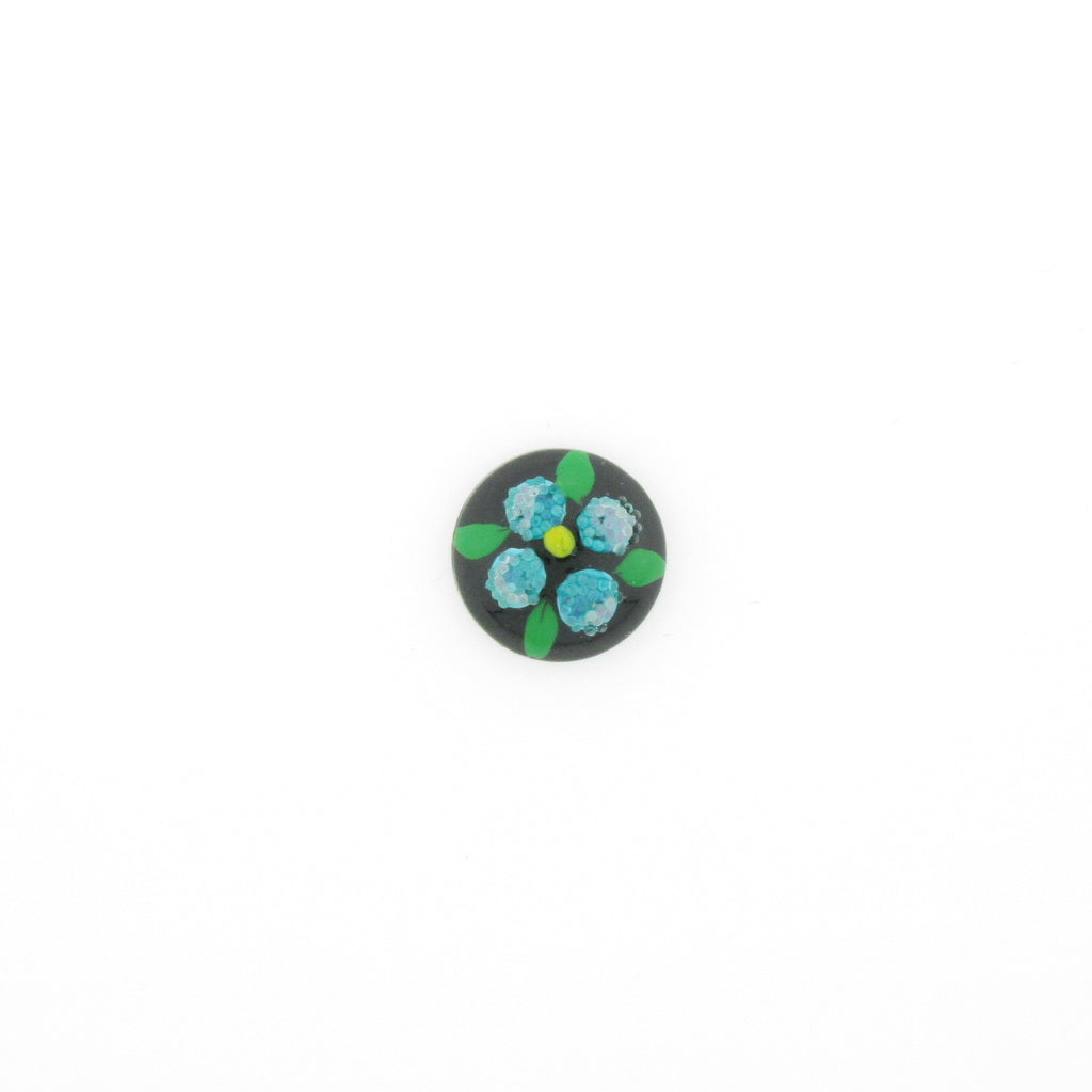 10MM Blue Flower On Black Cab (12 pieces)