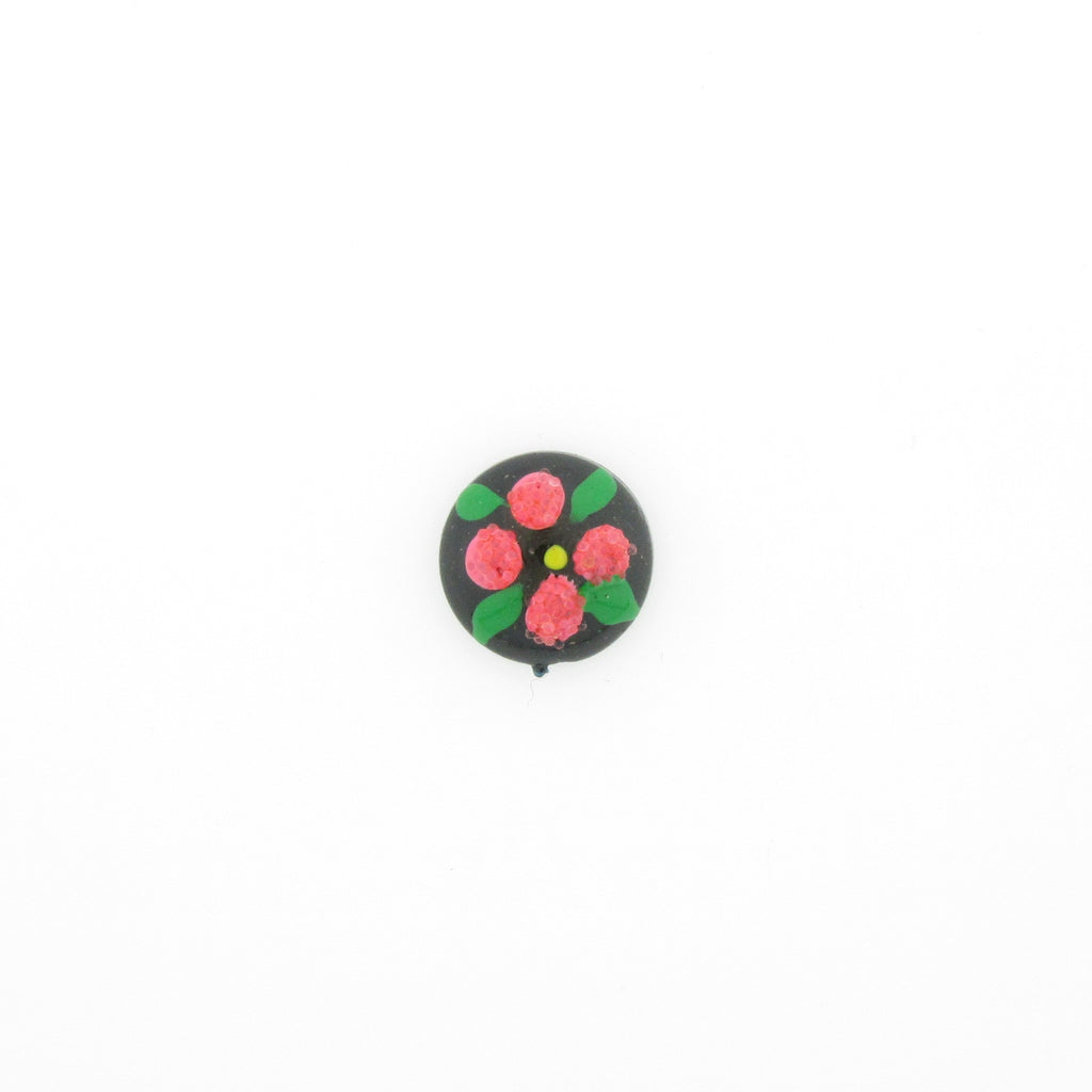 10MM Pink Flower On Black Cab (12 pieces)