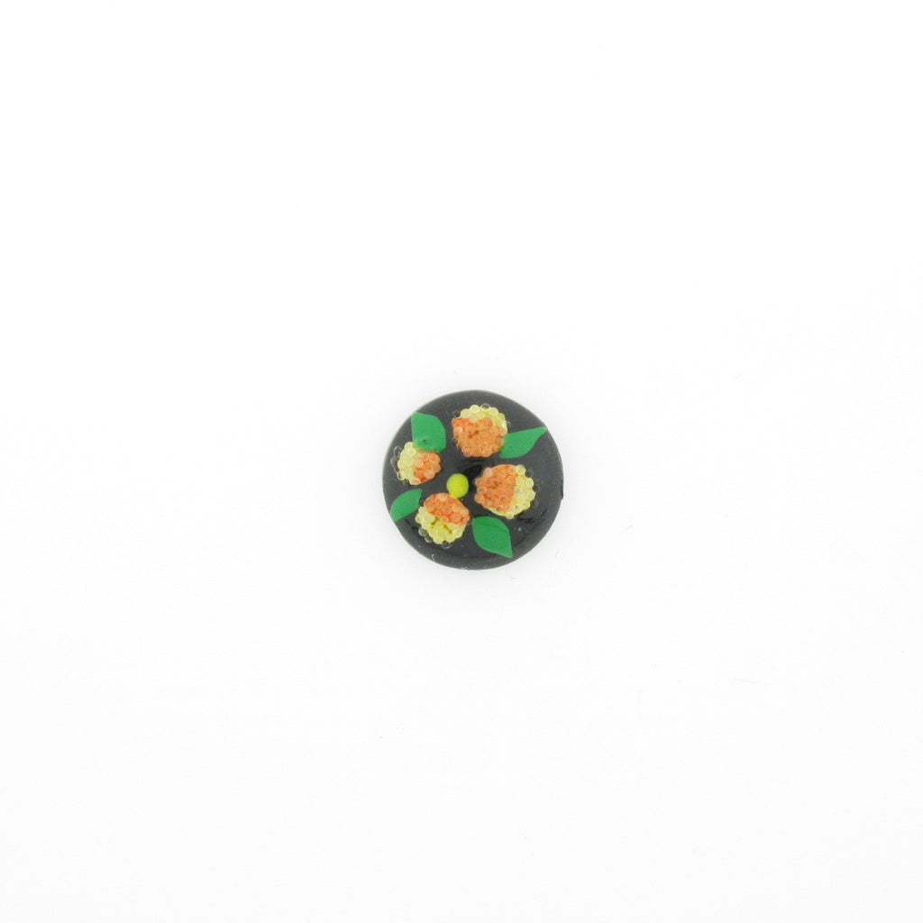 10MM Yellow Flower On Black Cab (12 pieces)