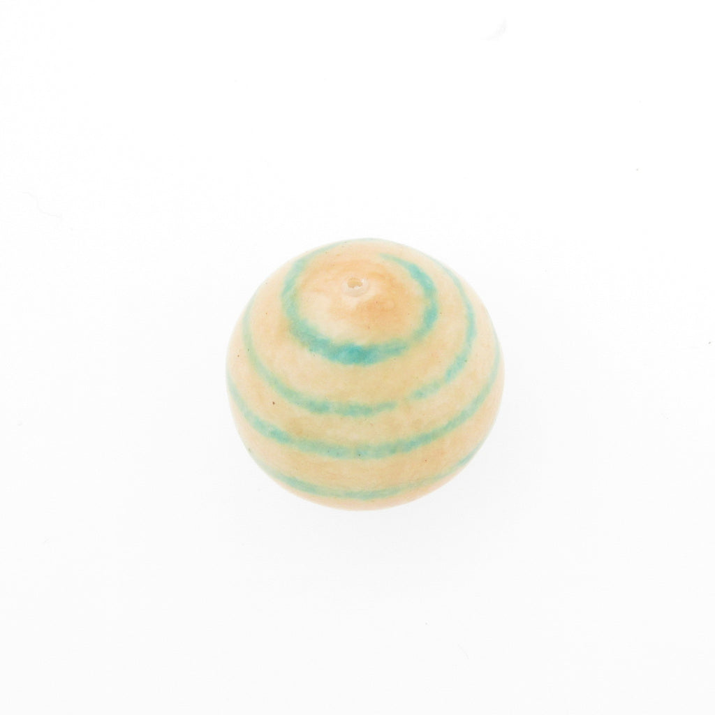 20MM Aqua Stripe Papermache Bead (12 pieces)