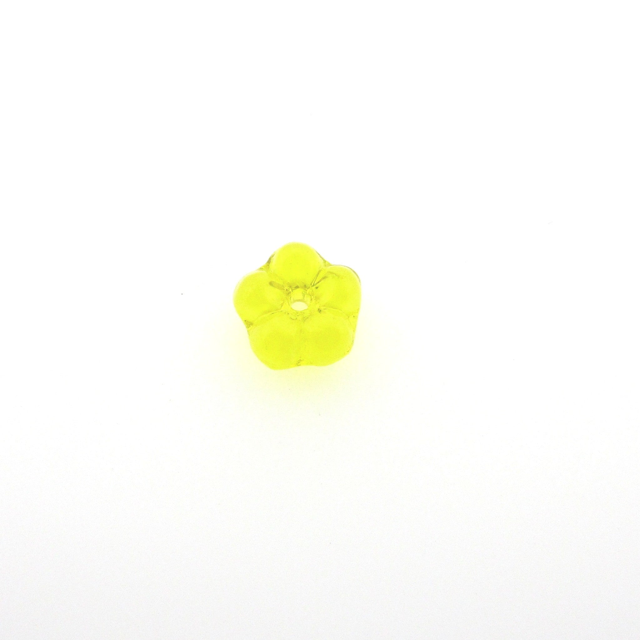7MM Yellow Flower Glass Rondel (72 pieces)