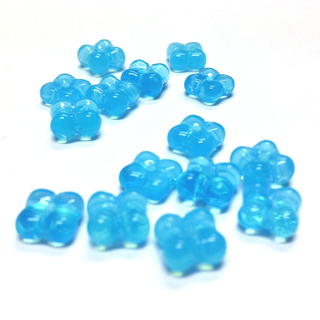 9MM Aqua Opal Glass Flower Rondel (100 pieces)