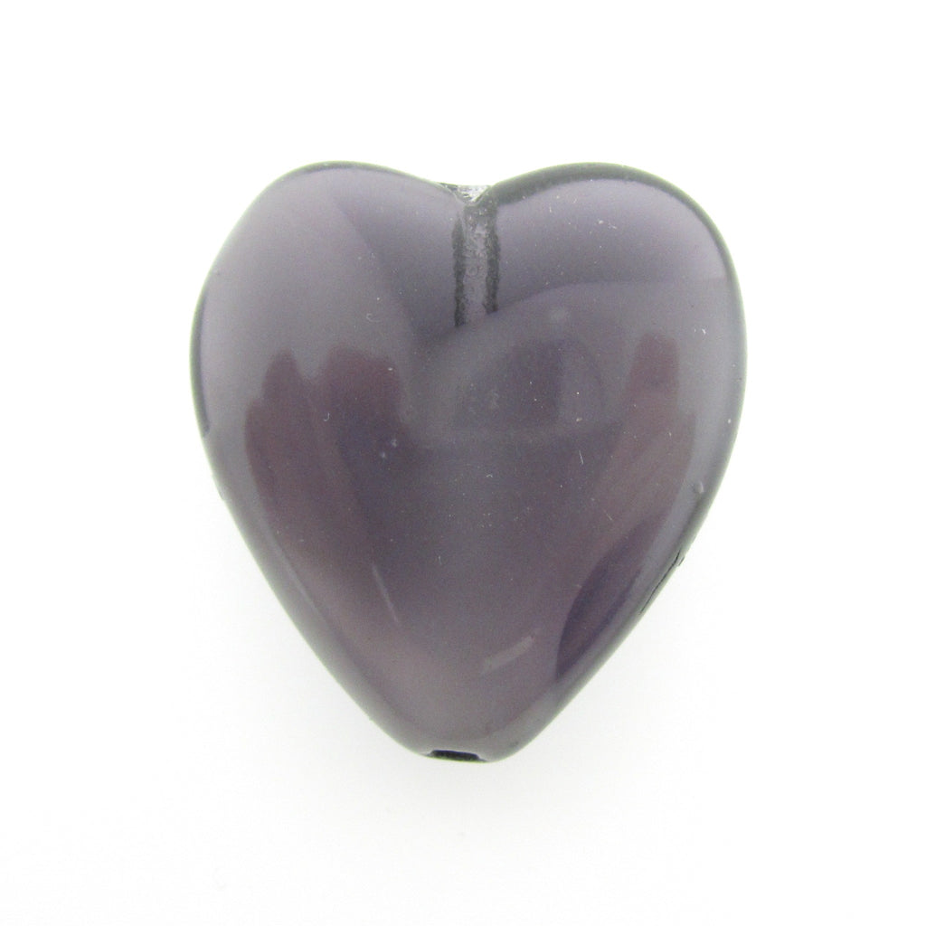 24MM Amethyst Flat Glass Heart Bead (2 pieces)