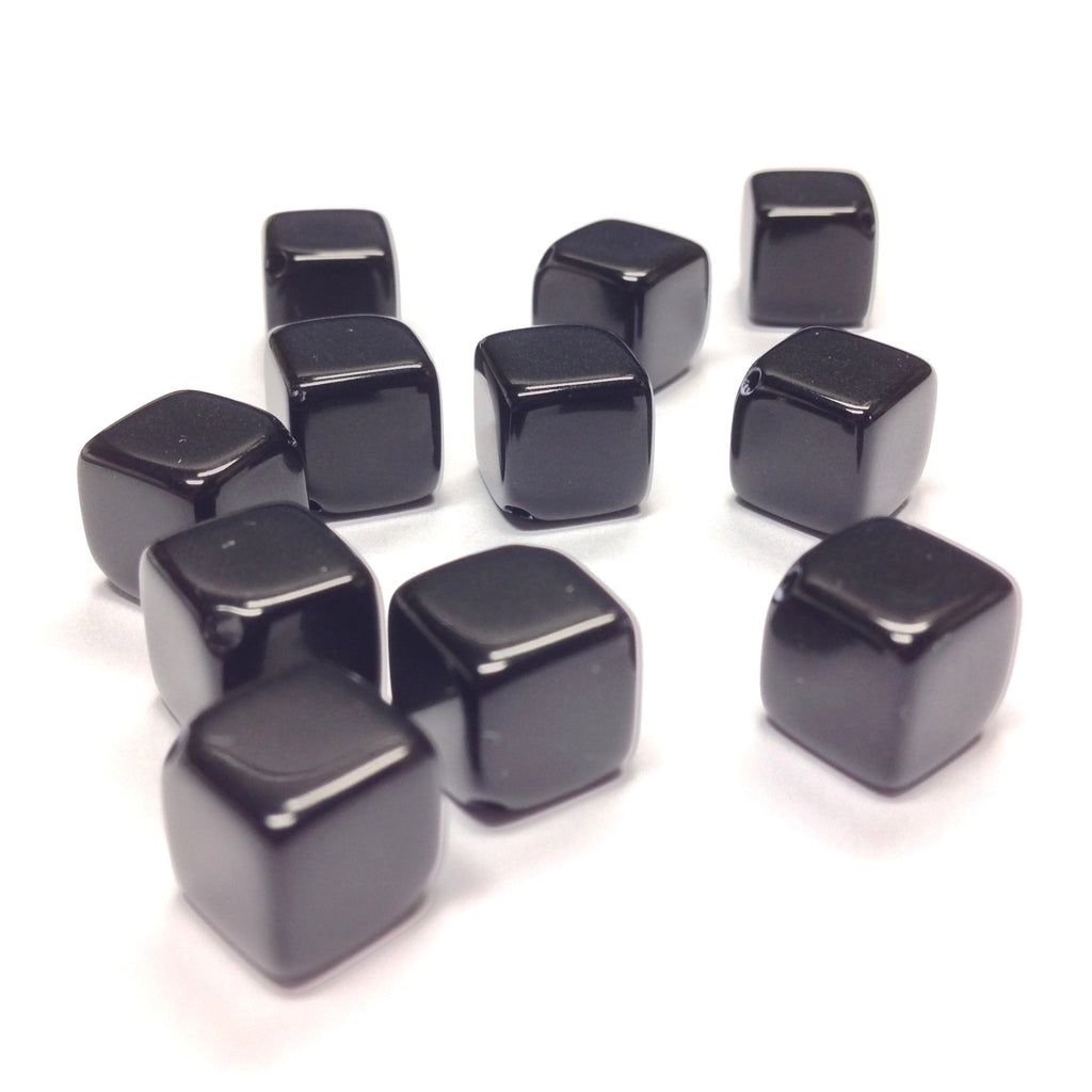 24MM Black Cube Bead w/Diagonal Hole (12 pieces)