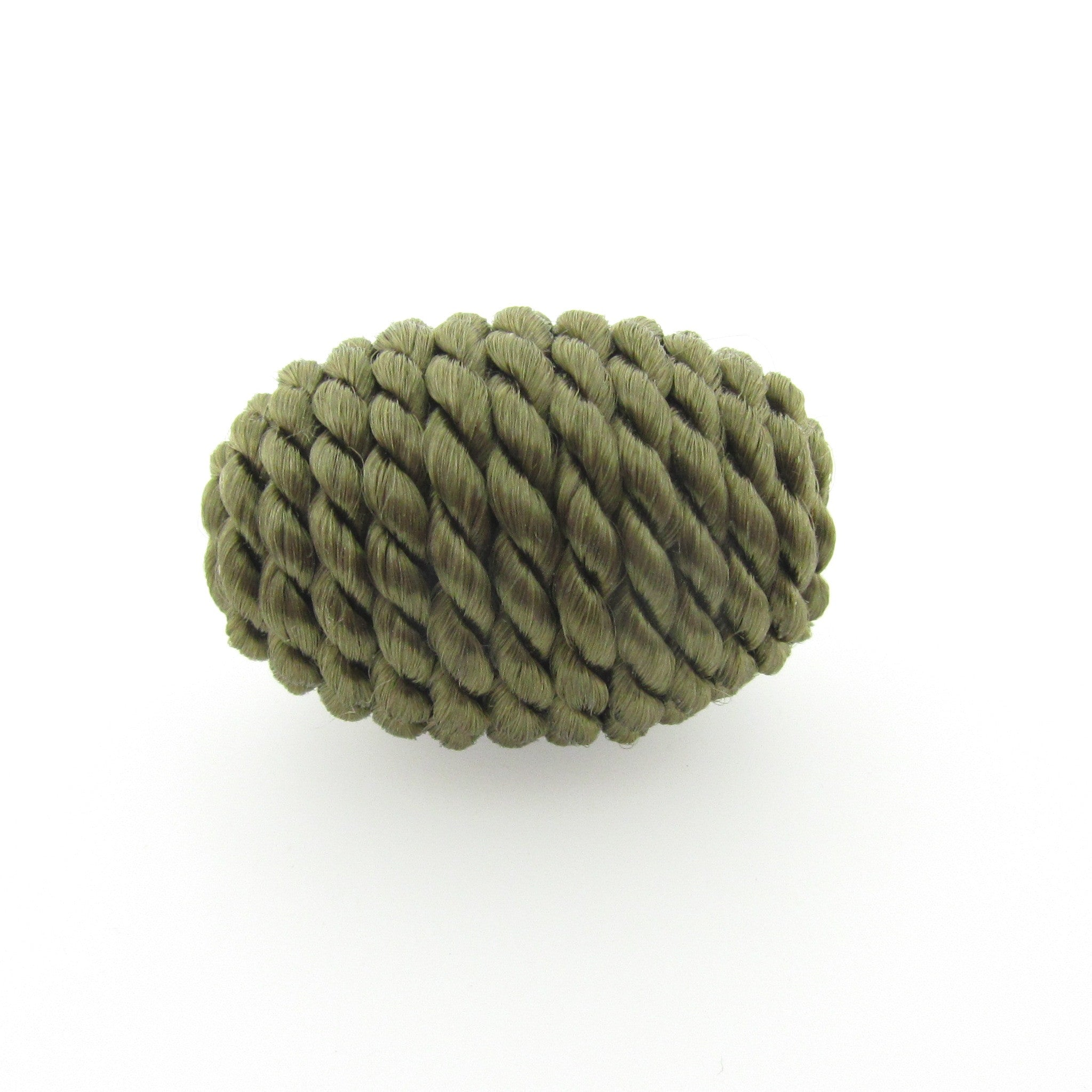 Small Olive Corded Bead (2 pieces)