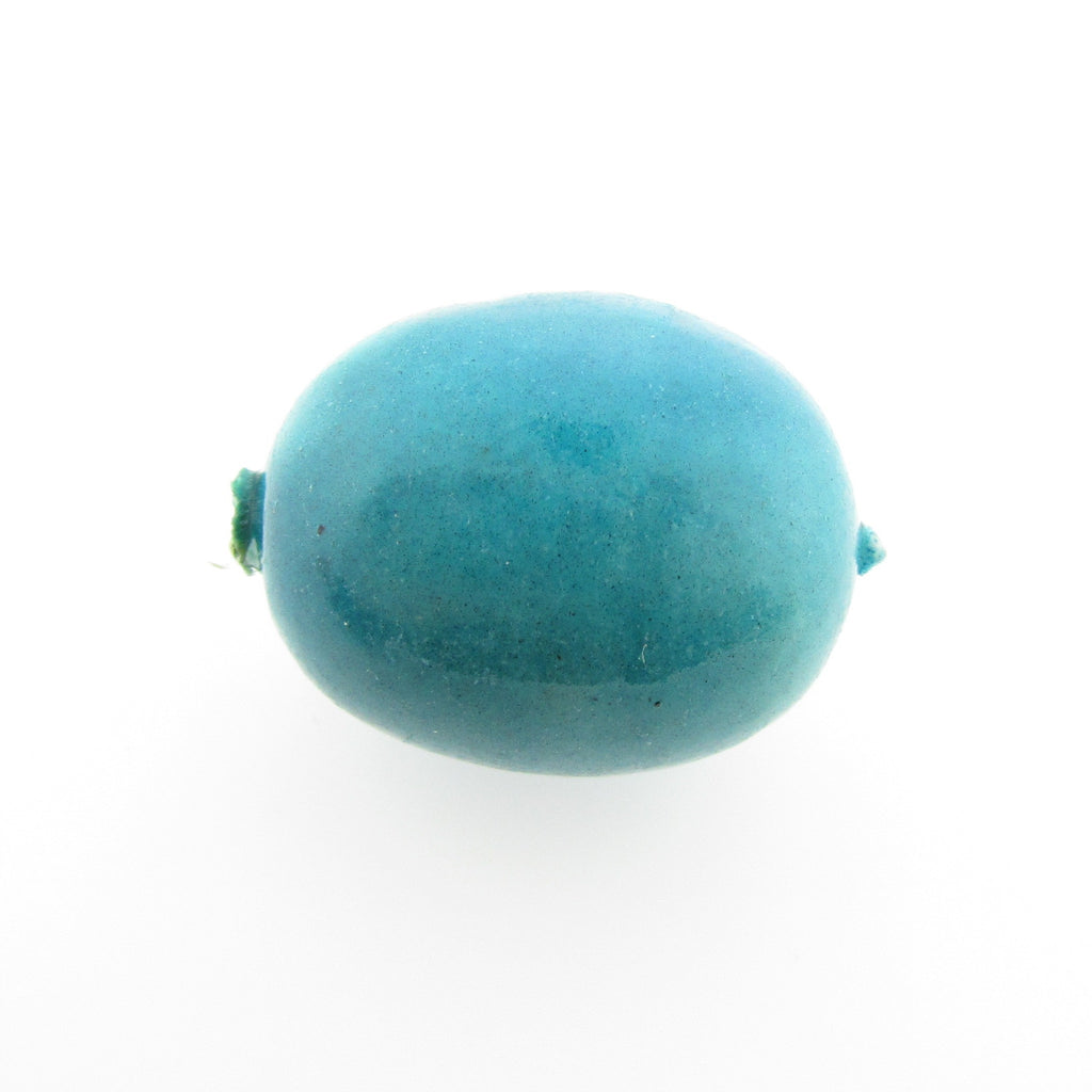 24X20MM Turquoise Paper Mache Oval Bead (12 pieces)