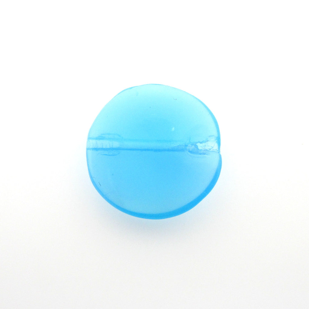 10MM Aqua Opal Glass Flat Round Bead. (36 pieces)