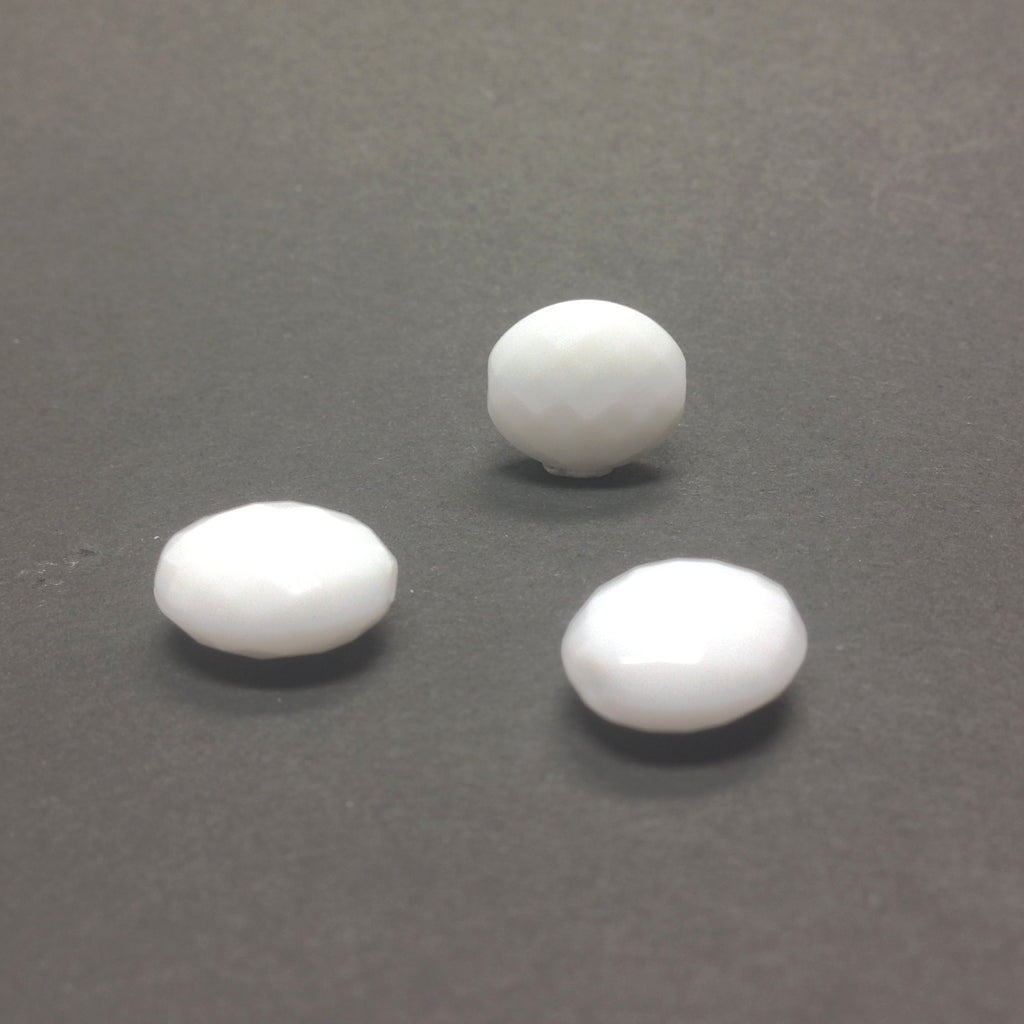 20X17MM Chalk White Faceted Oval Bead (36 pieces)