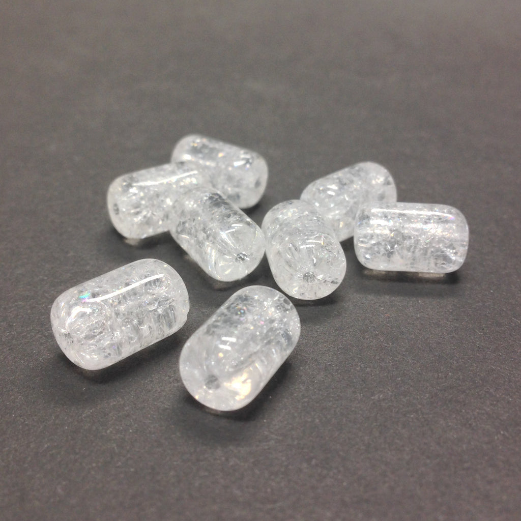 12X8MM Crystal Crackle Glass Tube Bead (36 pieces)