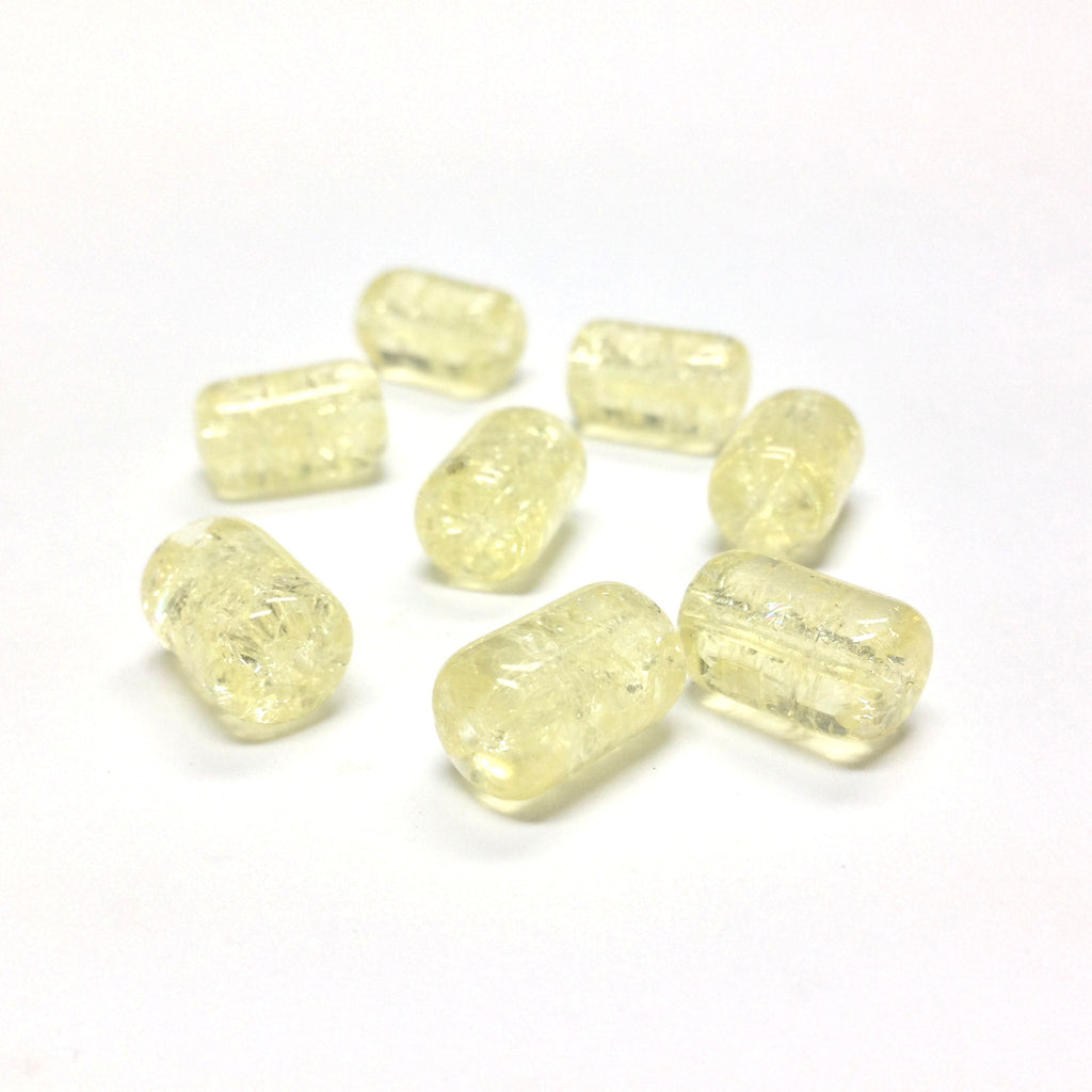12X8MM Yellow Crackle Glass Tube Bead (36 pieces)