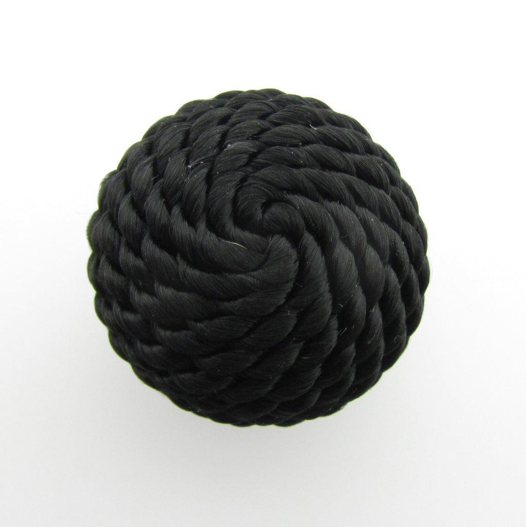 22MM Black Corded Cabechon (2 pieces)