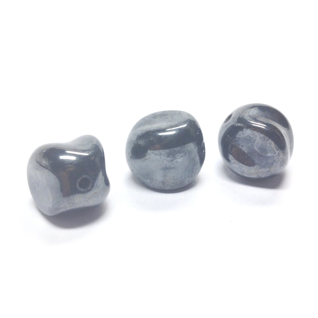 14MM Gunmetal Glass Nugget Bead (12 pieces)