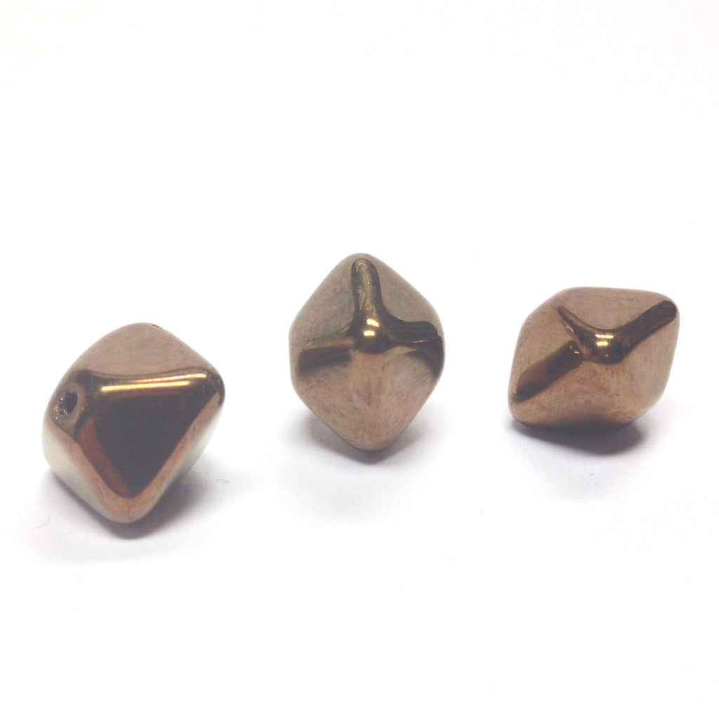 15X12MM Bronze Glass Pyramid Bead (12 pieces)