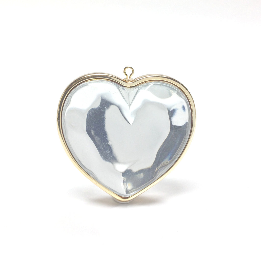 29X28MM Crystal/Gold Heart Drop (6 pieces)