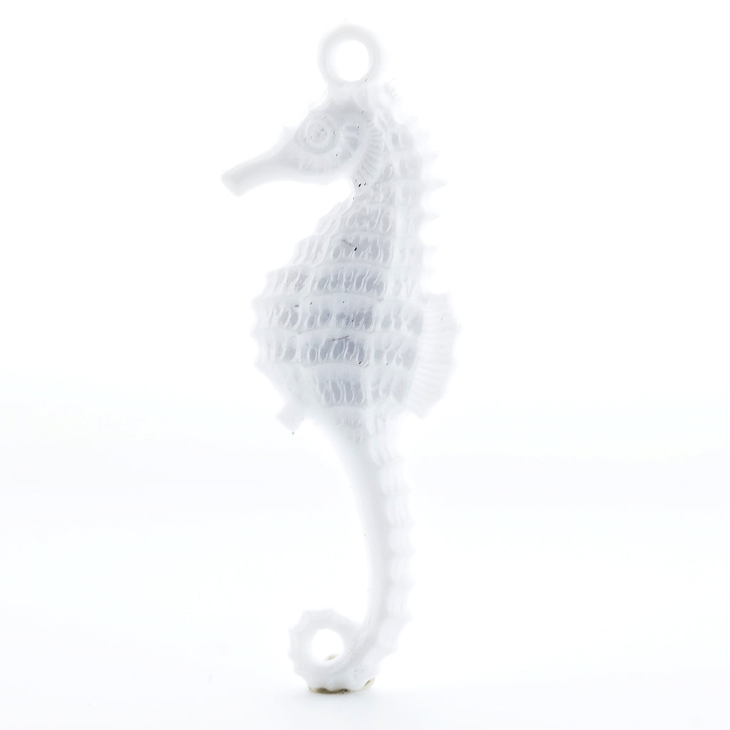 28X10MM White Seahorse Drop (72 pieces)