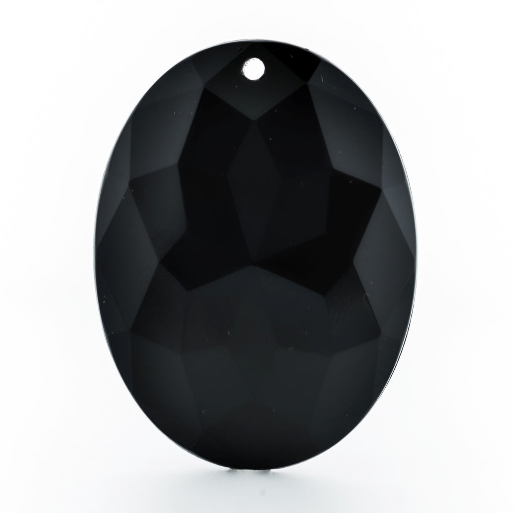 40X30MM Black Faceted Oval Drop (12 pieces)