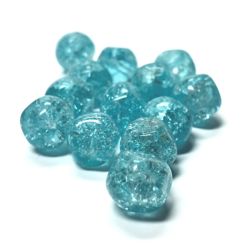 10MM Aqua Glass Nugget Bead (36 pieces)