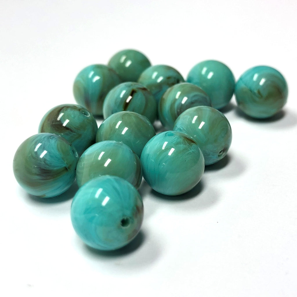14MM Turquoise Matrix Color Round Acrylic Bead (144 pieces)