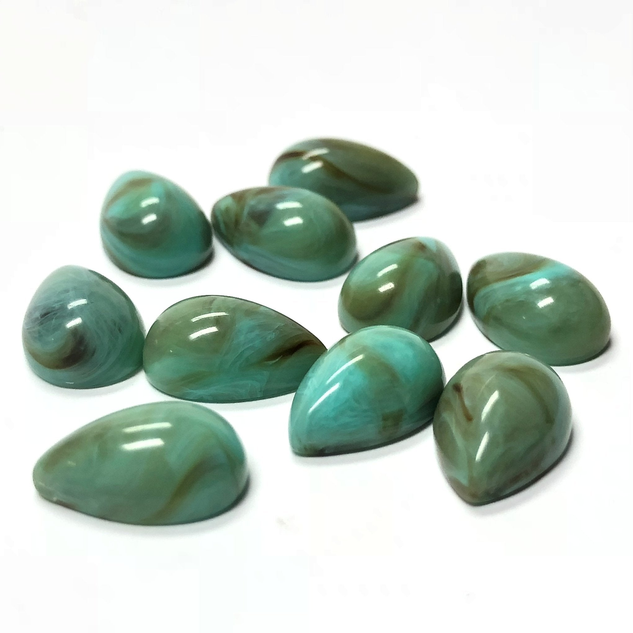 14X10MM Turquoise Matrix Color Pear Acrylic Cab (300 pieces)