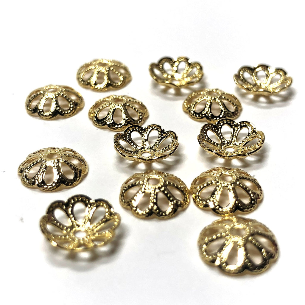 8MM Gold Plated Filigree Cap (250 pieces)