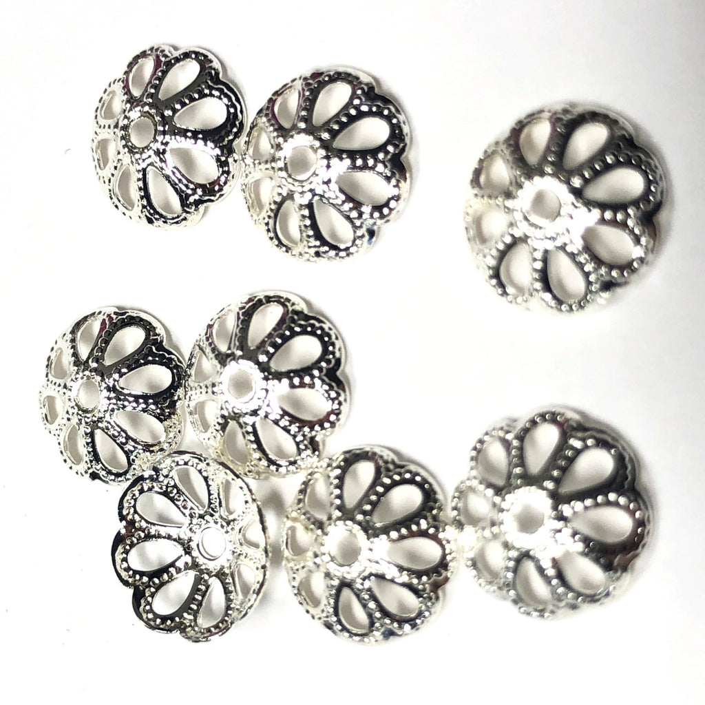 8MM Silver Plated Filigree Cap (250 pieces)