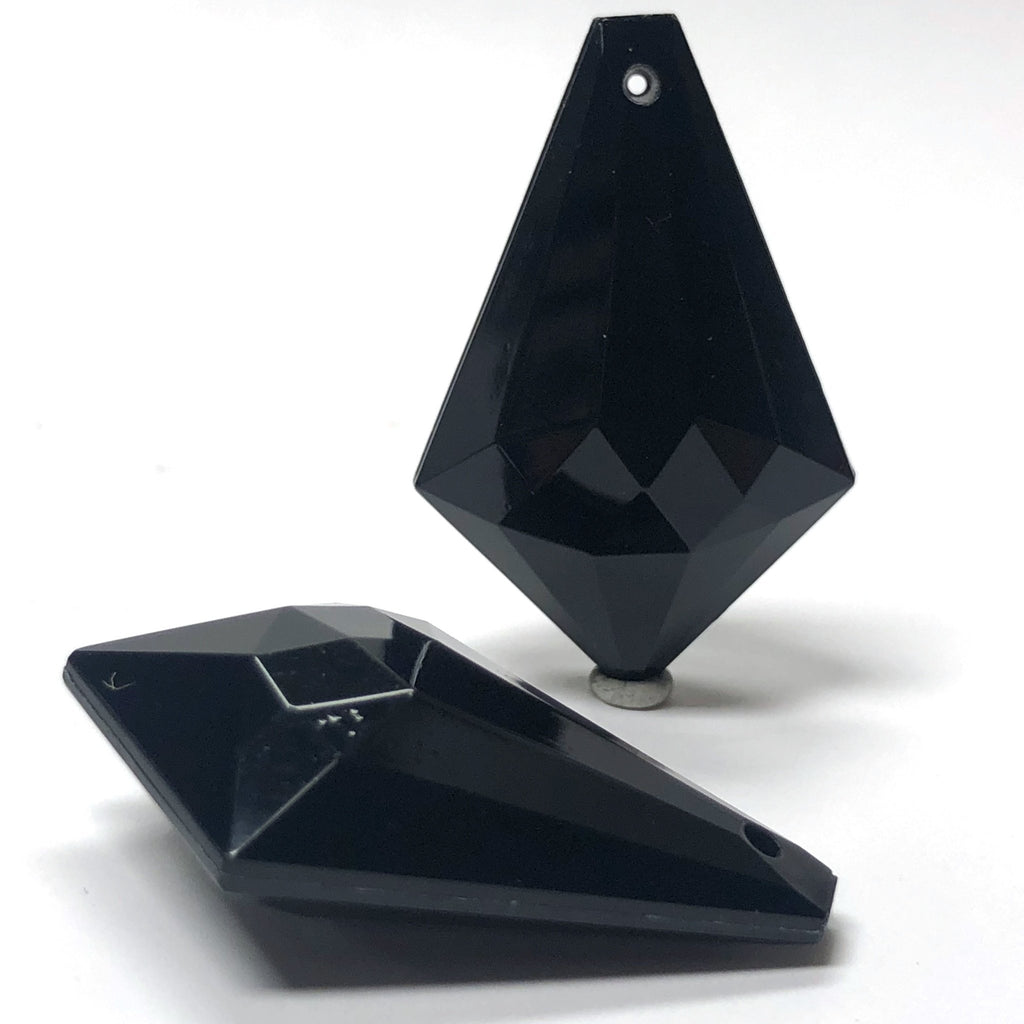 38X25MM Black Faceted Drop (12 pieces)