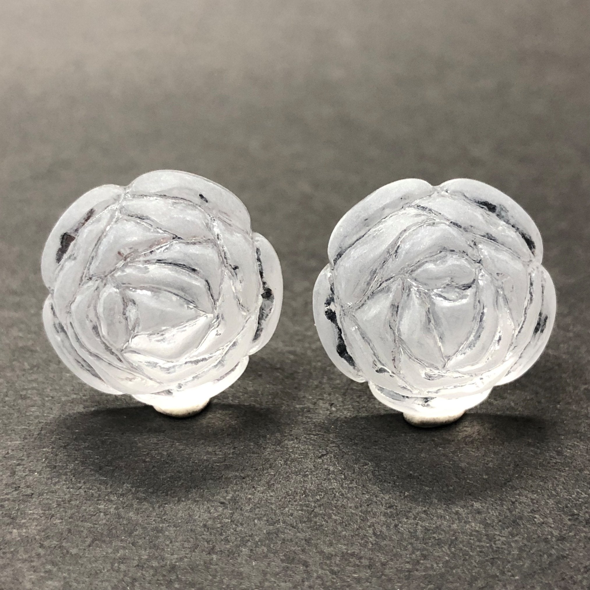 18MM Crystal Mat Foiled Flower Acrylic Cab (12 pieces)